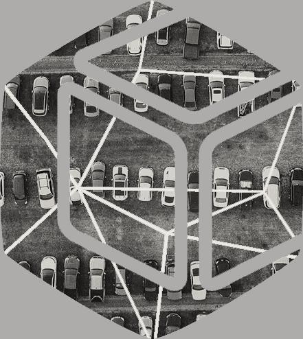Ikon med parkering fylld av bilar
