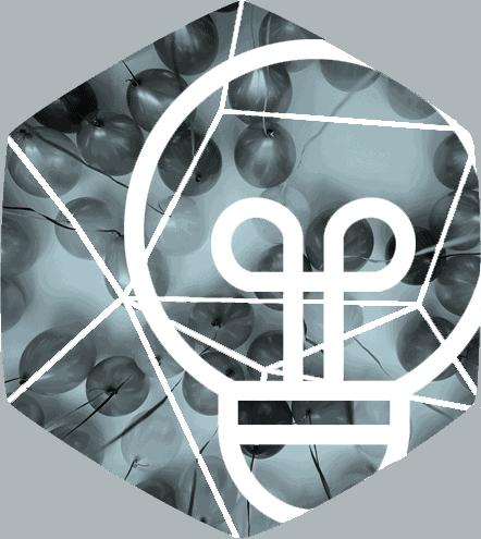 hexagon bild med ballonger och lampa